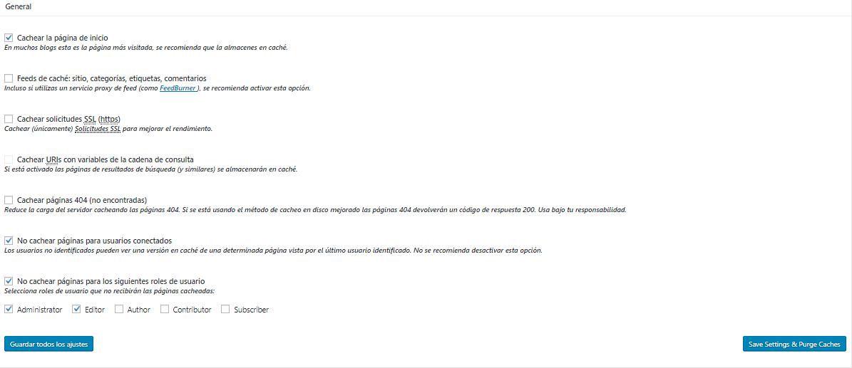 Configuración avanzada de caché de página de W3 Total Cache de WordPress