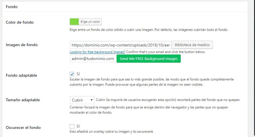 Ajustes de diseño Plugin página en construción