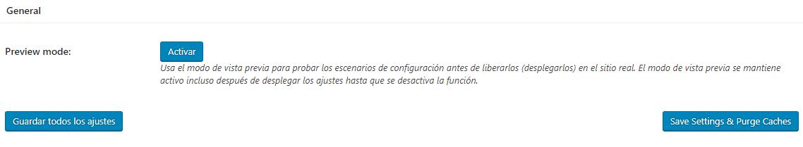 Ajustes generales W3 Total Cache de WordPress