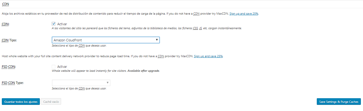 Ajustes CDN W3 Total Cache de WordPress