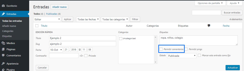 Desactivar los comentarios de WordPress para algún artículo en concreto
