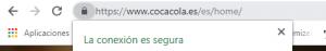 Ejemplo de conexión segura y cifrada en Google Chrome