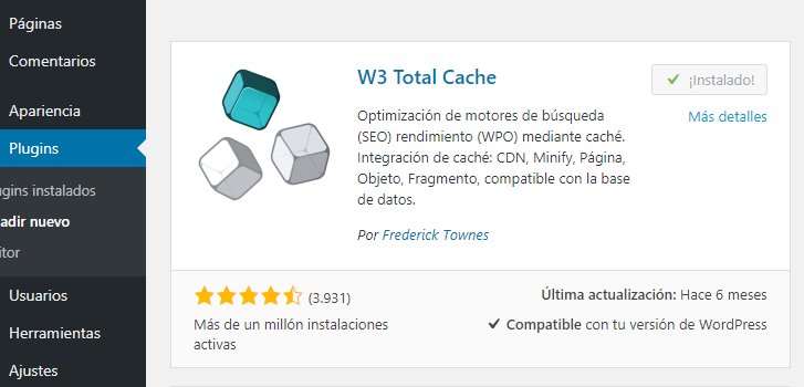 Instalar W3 Total Cache en WordPress