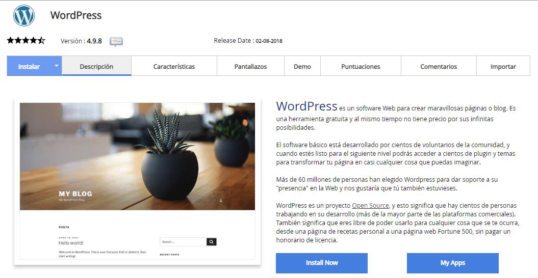 Instalar WordPress en un subdominio - Paso 1