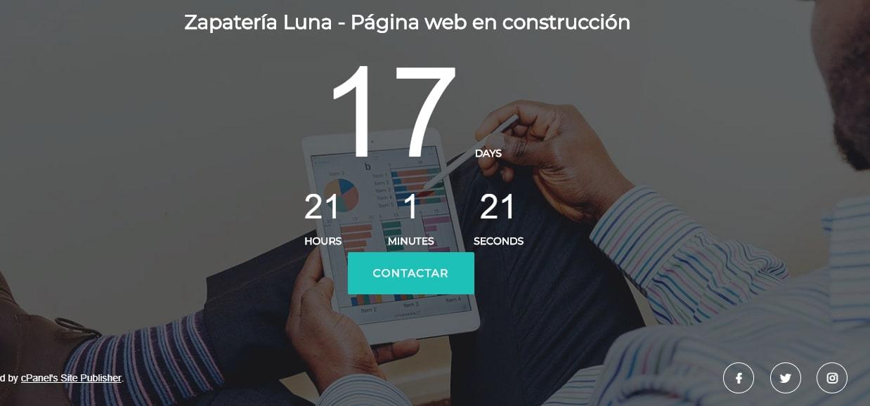 Página en construcción con Publicador de sitio de cPanel