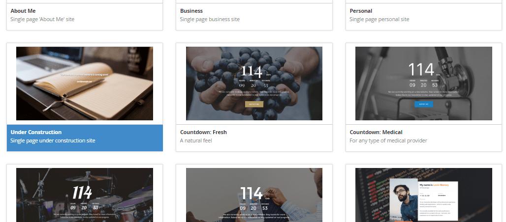 Elegir plantilla en el Publicador de sitio de cPanel