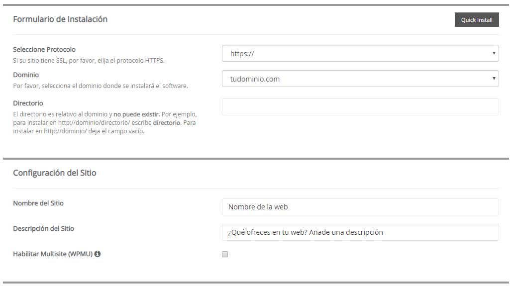 Instalar WordPress desde cPanel paso 2