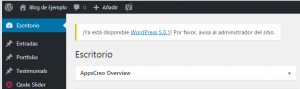 Alerta del dashboard para actualizar a WordPress 5.0.