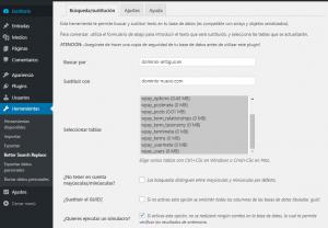 Configurar Better Search Replace