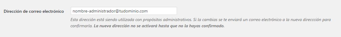 Ajustes generales WordPress: Dirección de correo electrónico
