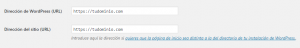 Ajustes generales WordPress: Dirección URL