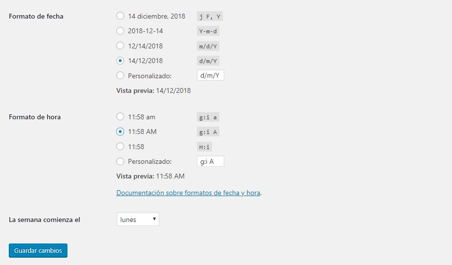 Ajustes generales WordPress: Formato fecha y hora