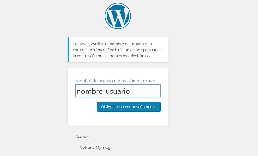 Cambiar contraseña WordPress: Formulario de acceso a WordPress (2º paso)