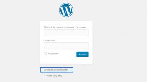 Cambiar contraseña WordPress: Formulario de acceso a WordPress