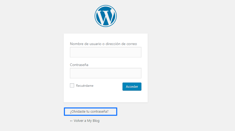 Cambiar contraseña WordPress: Formulario de acceso a WordPress