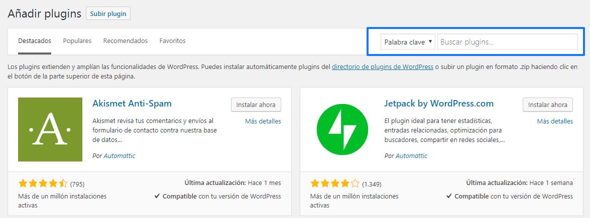 Instalar plugins en WordPress automáticamente: Paso 2