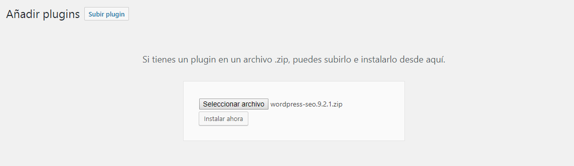 Instalar plugins en WordPress manualmente: Paso 3