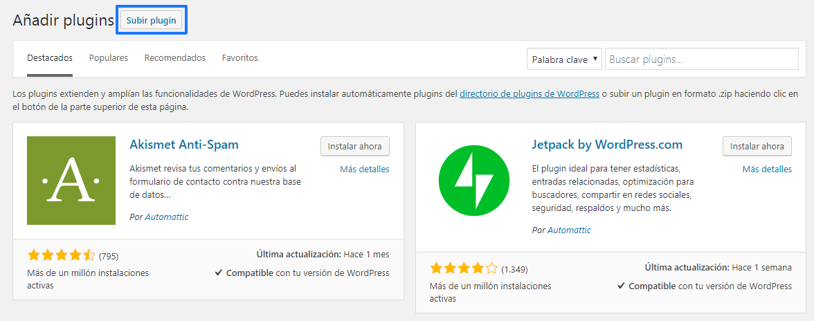 Instalar plugins en WordPress manualmente: Paso 2