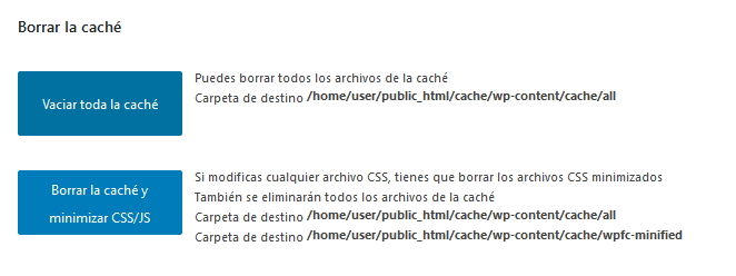 Borrar la caché en WordPress con WP Fastest Cache