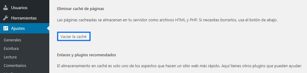 Borrar caché WordPress con WP Super Cache