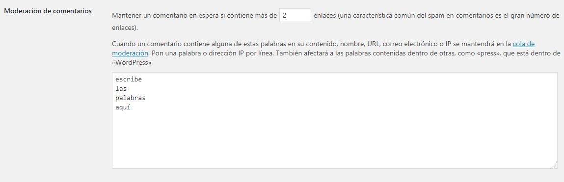 Configurar WordPress Ajustes de comentarios