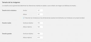 Configurar WordPress Ajustes de medios