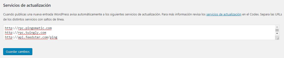 Configurar WordPress Servicios de actualización