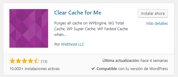 Instalar Clear Cache for Me en WordPress