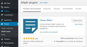 Volver al editor clásico de WordPress con Classic Editor