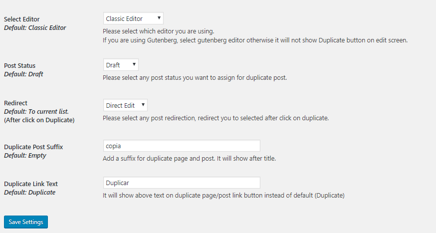 Configuración Duplicate Page and Post