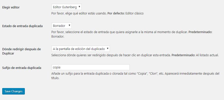 Configuración Duplicate Page