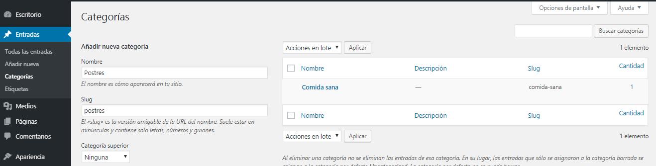 Paso 2: Añadir Categorías en WordPress