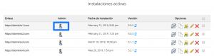 Instalaciones activas de WordPress
