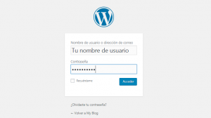 Pantalla de login de WordPress
