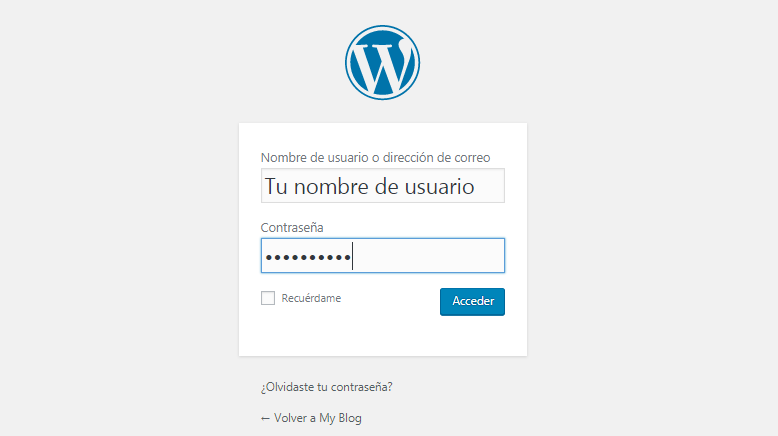 Pantalla de login de WordPress