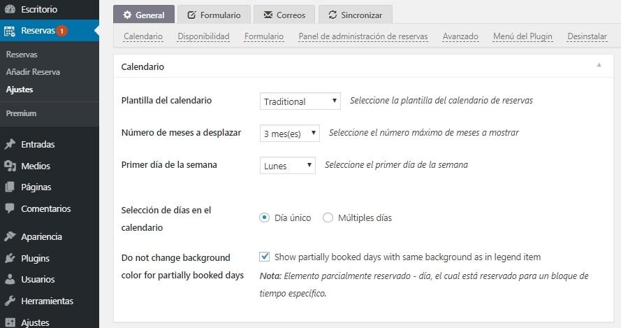 Configuración Booking Calendar