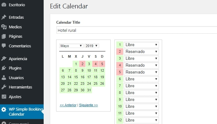 Configuración WP Booking Simple Calendar