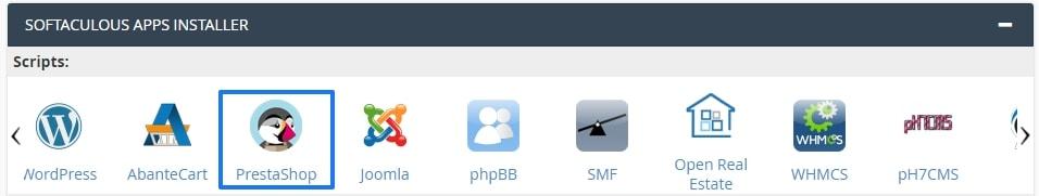 Softaculos: Instalar PrestaShop