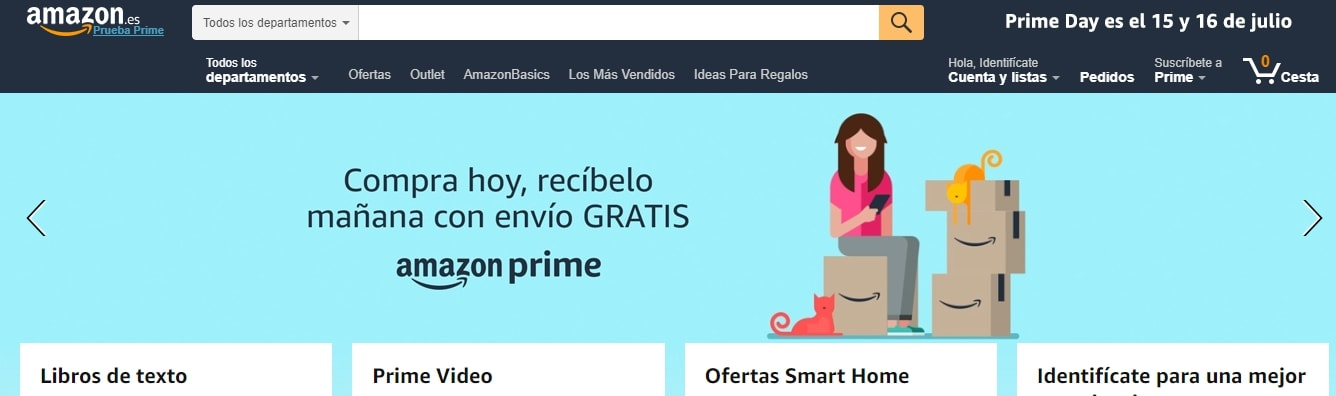 Ejemplo de slider en Amazon