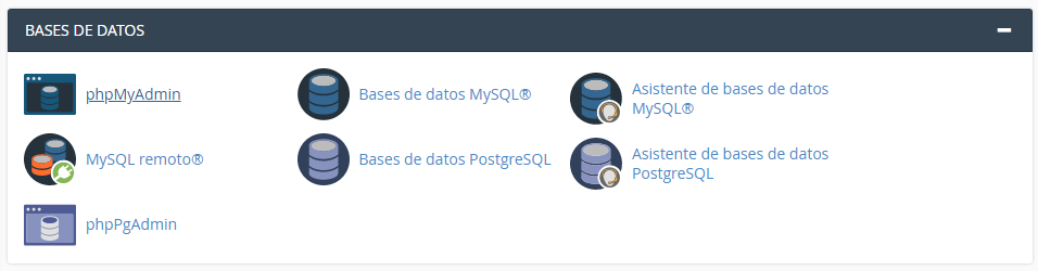 Sección Bases de datos en cPanel