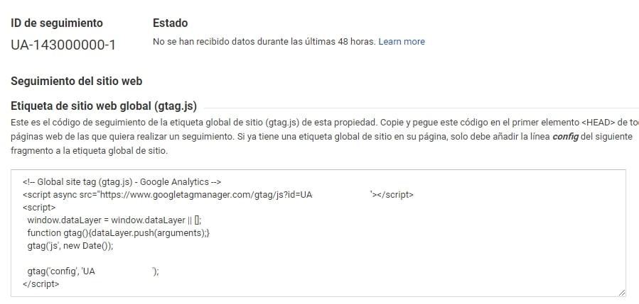 Código de seguimiento de Google Analytics