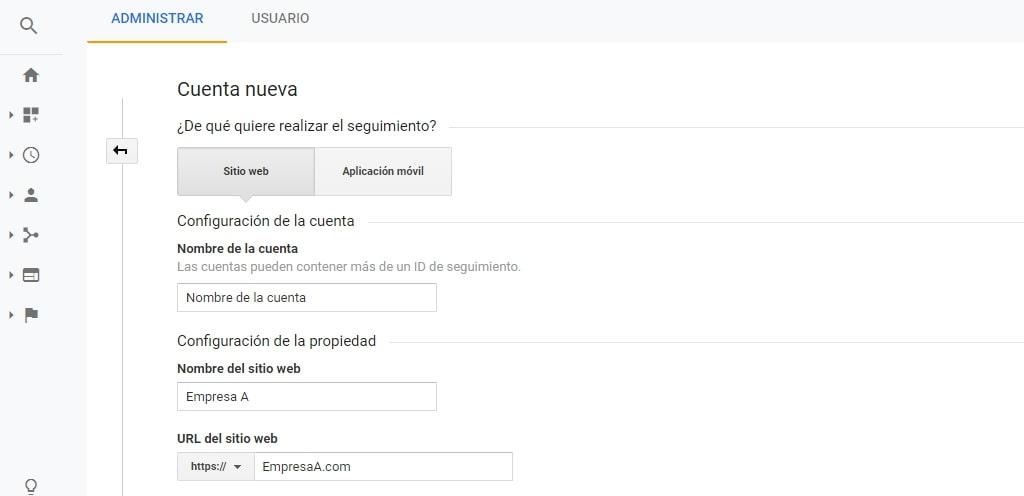 Crear una cuenta en Google Analytics