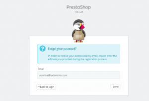 Pantalla de login - Cambiar la contraseña en PrestaShop
