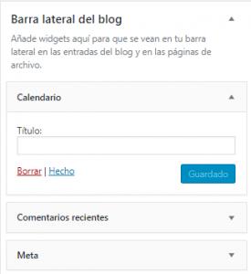 Borrar widgets en WordPress