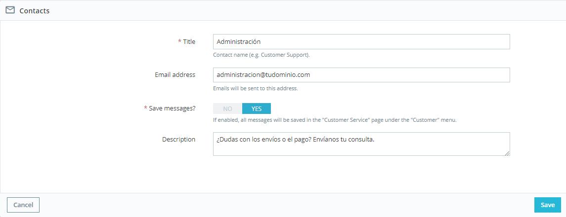 Formulario de contacto PrestaShop: crear contactos