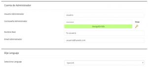 Formulario de instalación de Joomla