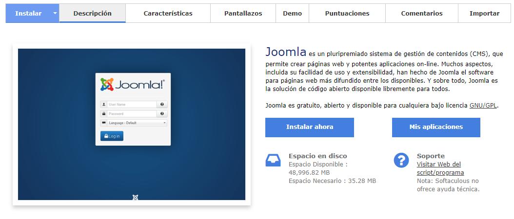 Instalar Joomla con el autoinstalador Softaculous