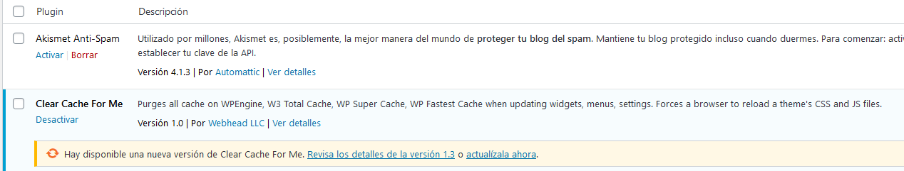 actualizar plugin wordpress desde backend