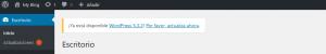 Aviso para actualizar WordPress desde el backend