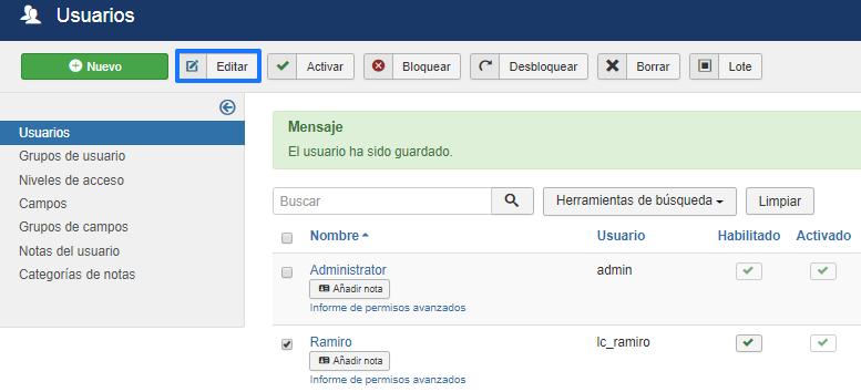 Editar usuarios en Joomla